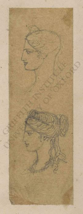 Two sketches of profile view of head of woman with hair half up in bun