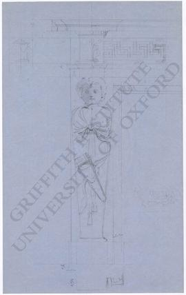Fireplace design; frontal view of child caryatid with quiver, with measurements