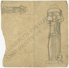 Two sketches of woman holding container on head [lighthouse design with colossal statue of woman]