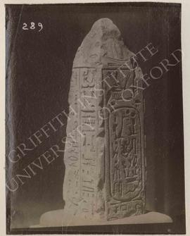 Upper part of the small obelisk of Ptahpa..., temp. Ramesses V, provenance not known, now in Bolo...
