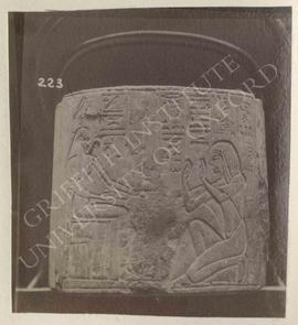 Fragment of a column showing the deceased kneeling before Hathor, temp. Haremhab, from Saqqara, T...