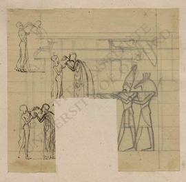 Three sketches of man drinking water from amphora being held by woman (Classical) and sketch of E...