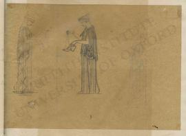 Three designs of woman pouring oil into a lamp (mirror views)