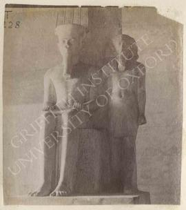 Statue of Tutankhamun with Amun-Re, usurped by Haremhab, from Thebes, now in Turin, Museo Egizio,...