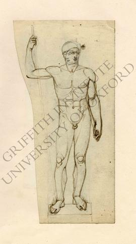 Free-standing sculpture of spear bearing male nude, pencil sketch of head underneath ink facing o...