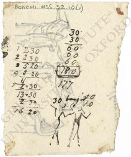 Calculations and sketch of two figures with upraised arms